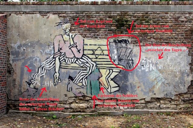 Nach der Mauersanierung haben sich Regina und Dieter Weinkauf das Wandbild einmal sehr genau angeschaut. Sie haben unter anderem Fragmente des Vorgängerbildes gefunden. Foto: D. u. R. Weinkauf