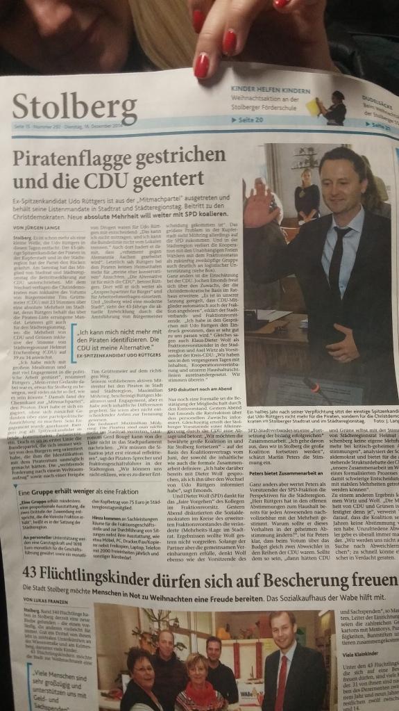 Die Zeitungen in Stolberg räumen den Ereignissen den entsprechenden Platz ein.