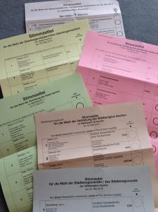 Wahlzettel für Wahlen in Aachen und der Städteregion. Da ließ sich Rüttgers für die Piratenpartei ins Rennen schicken.