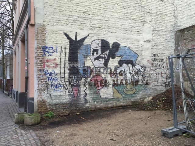 """Eines der wenigen Bilder von Klaus Paier , die es in Aachen noch gibt: """"Der große Krieg""""."""
