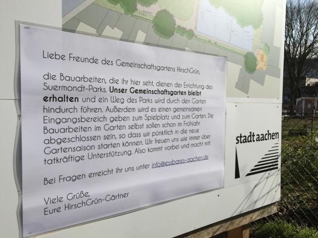 Was hier Phase ist, darüber haben die HirschGrün-Betreiber informiert. Und da haben sich plötzlich ganz andere Perspektiven aufgetan: Die Politiker von CDU und FDP möchten statt des Gartens lieber eine Liegewiese haben. SPD und Grüne haben gewisse Sympathien für die Garten-Betreiber und die Piraten mit den Linken wollen HirschGrün auf jeden Fall erhalten. Falls sie nicht alle ihre Meinungen inzwischen wieder geändert haben.