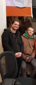 Philipp Manuel Rothkopf und Hannes Schumacher (v.l.) zu Gast im Piratenbüro.